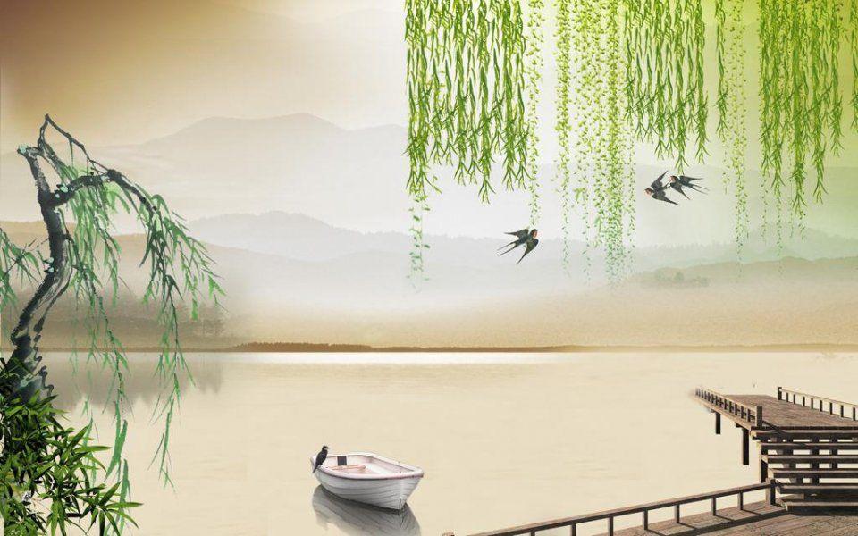 杨柳垂条水墨素材