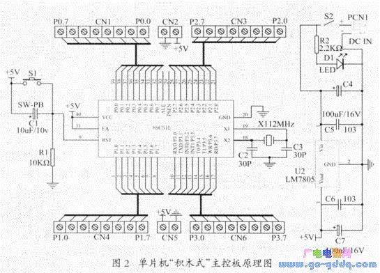 电路,将外部9~l2v左右的直流电压稳压滤波后变成5v,给主控板51单片机