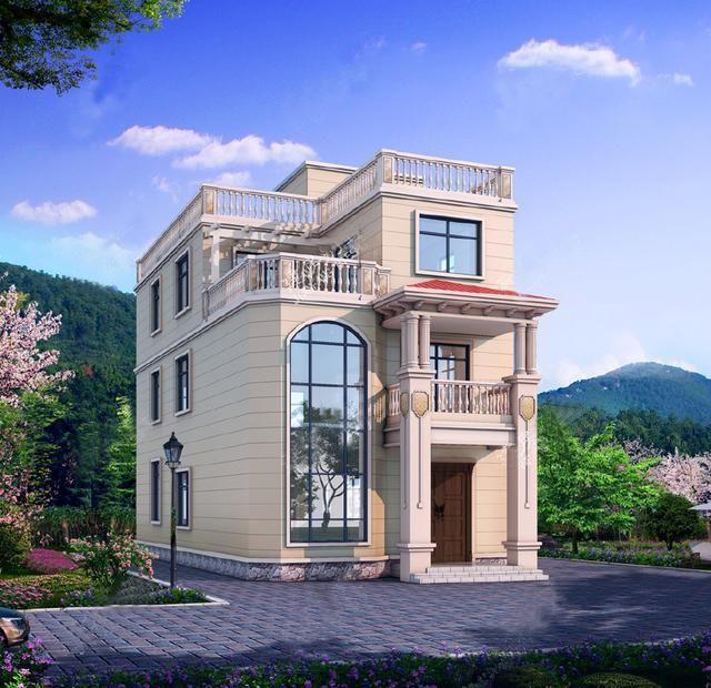 7x18米,3层小面宽欧式别墅,客厅挑空,适用于沿街小宅基地!