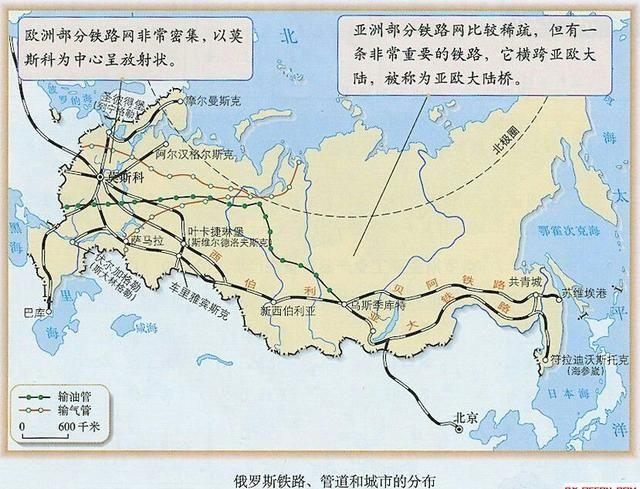 俄罗斯铁路,管道和城市的分布图图片
