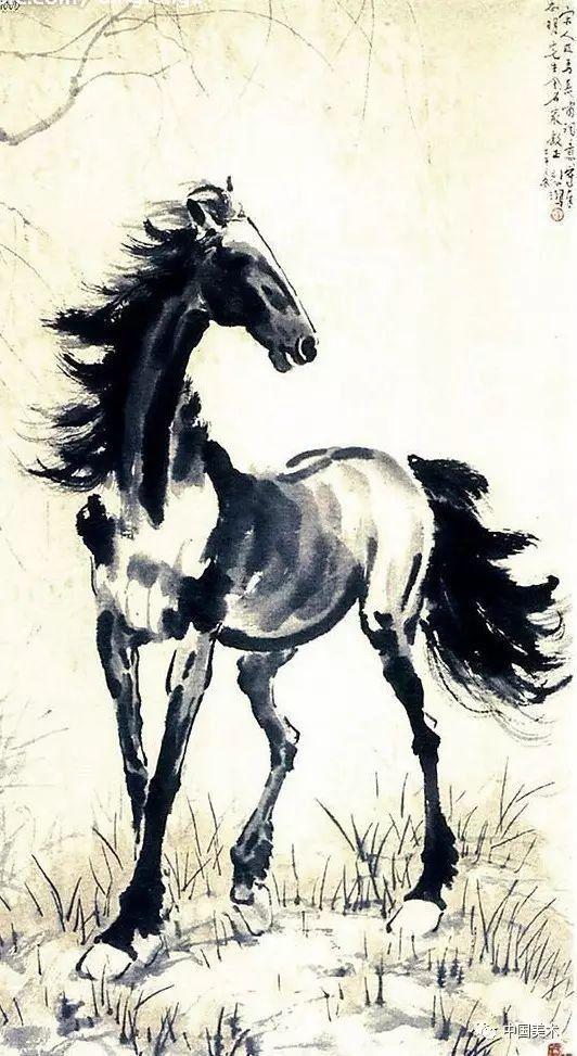 徐悲鸿画马,虽借用西画素描法十分写实,但在笔墨上却仍注重中国传统