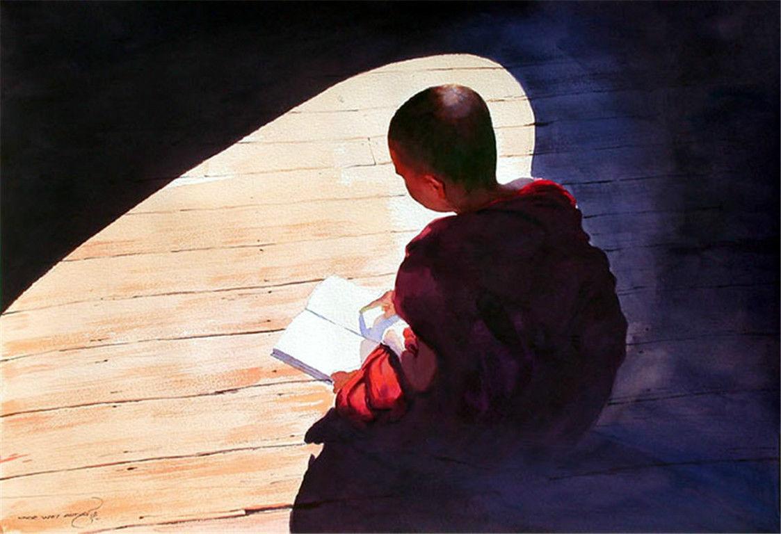 缅甸艺术家myoe win aung的佛系水彩画
