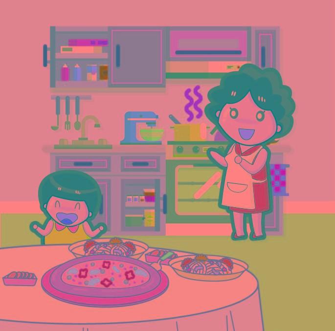 妈妈在厨房烧菜,餐桌上的你拿着碗筷迫不及待