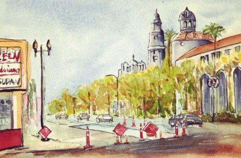 走到哪画哪,街角的风景也成了她眼里最美的画作.