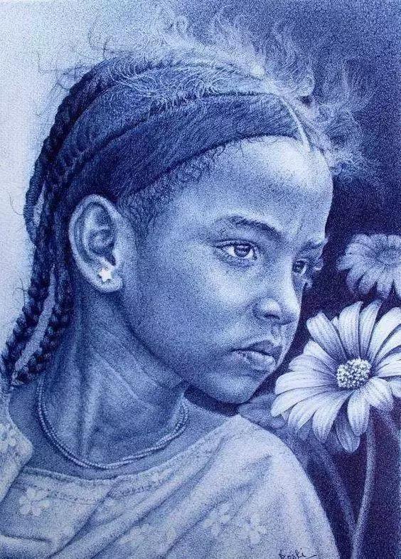 bosokah) 圆珠笔画中照片级的肖像画家 看他的作品就像看照片一样
