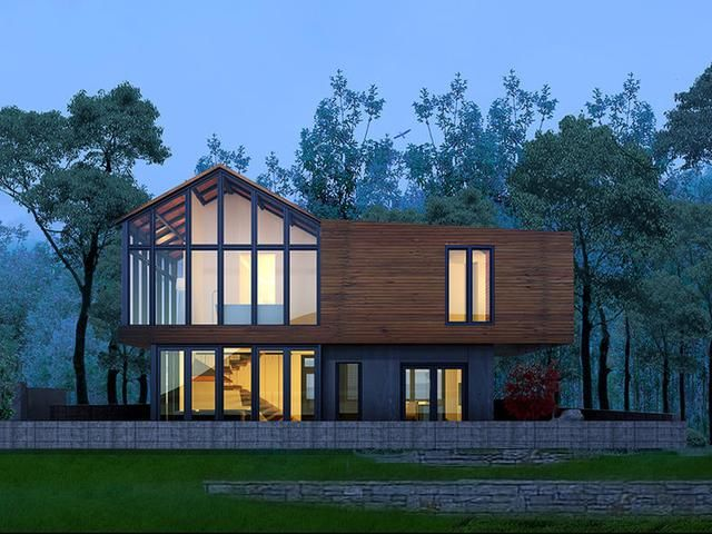 正面看过去,整个房子显得非常的精致漂亮,采用了大量的钢架架构,搭配