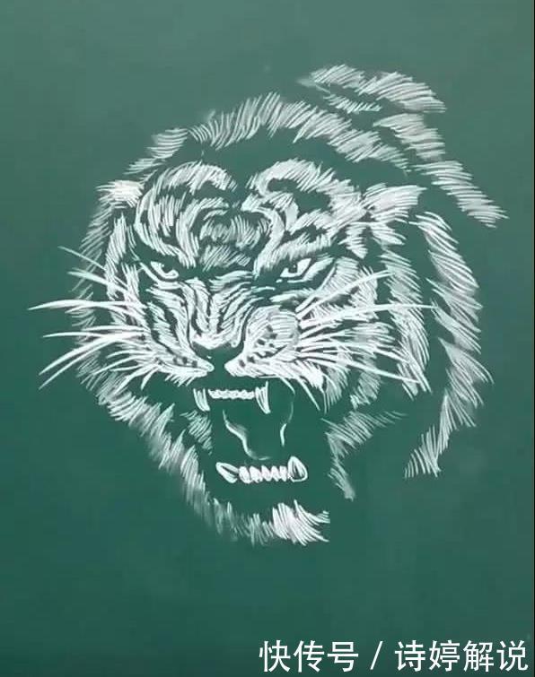 美术老师黑板上用粉笔画斜线,镜头拉远之后,网友巨佬本尊!