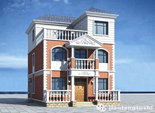 平屋顶坡屋顶结合占地约11030万2厅6室3卫三层自建房设计图图片