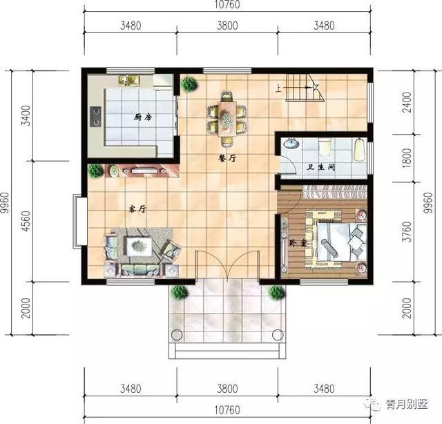 10.76米10米二层小别墅,简单实用,农村建房好户型!图片