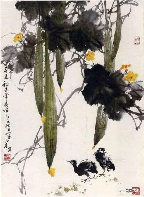 中国画基础知识,中国画技法之写意丝瓜,葫芦画法教程-图片