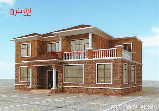 本方案为农村160平四间两层楼房设计图,面积适中带露台,户型经典图片