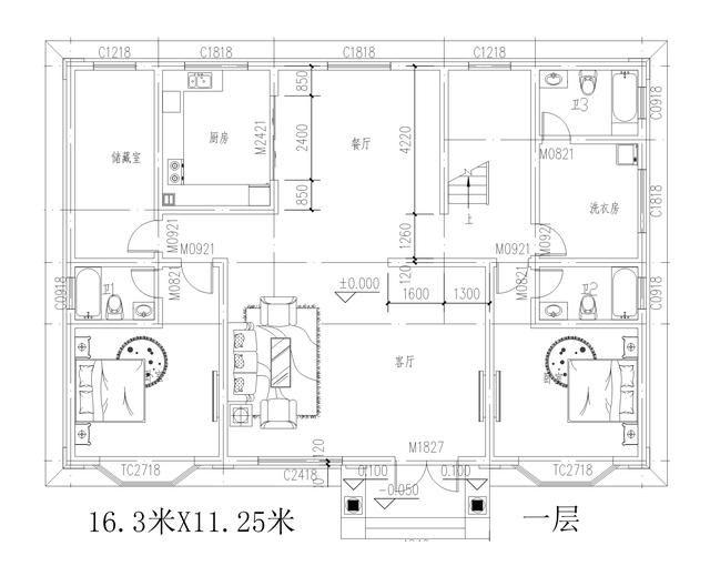 新农村自建房别墅16米x11米占地190,共380平米主体造价35万!