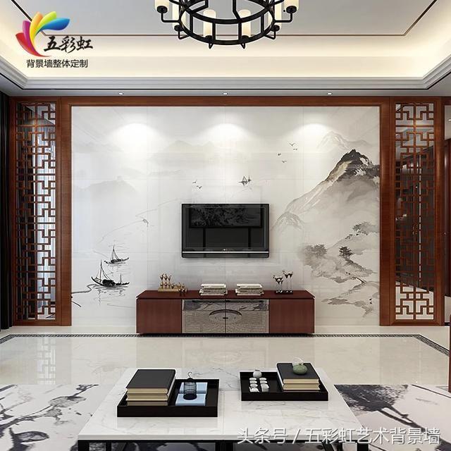 3,新中式花格边框搭配微晶石电视背景墙整体装修效果图