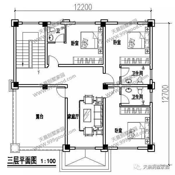 二层别墅设计图:家庭厅,卧室(3间),卫生间,阳台,书房.