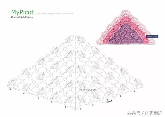 钩针编织教程图解 网红经典段染色三角形钩针披肩围巾