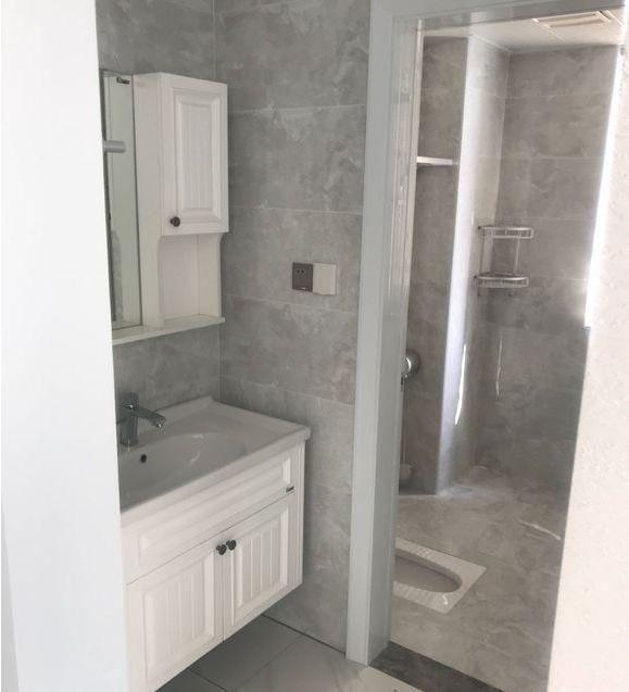 干湿分离比较彻底,浴室柜和浴室镜一套的,安装在小过道,看到蹲便器