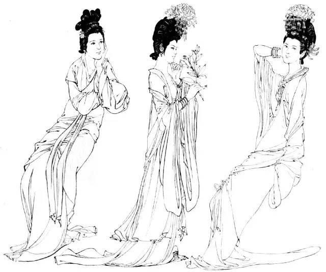 古代服装女装简笔画