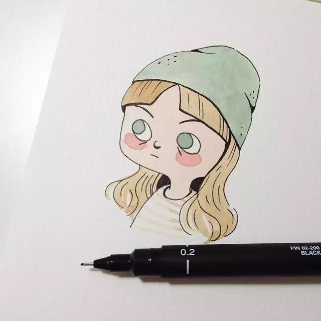 作品风格小清新中又带有趣味性  人物彩铅水彩简笔画系列   no.