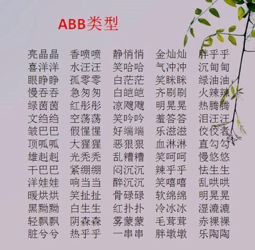 ABB+AABB+ABCC式成语!替孩子打印贴墙背